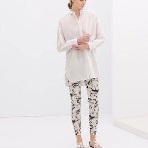 zara black + white splatter leggings